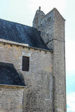 Bell Tower of fortified church of Saint-Julien, Nespouls, Correze, Limousin, France royalty free stock photos