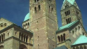 Bell tower front of the Speyer Cathedral, famous UNESCO world heritage site. Facade of the famous UNESCO World Heritage Site Speyer Cathedral, Speyer, Germany stock video