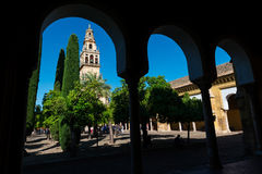 Bell tower and gardens of the Mosque Cathedral in Cordoba stock photos