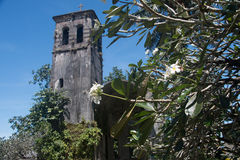Bell tower of german church ruin in Kolonia Pohnpei. Ruin of belltower german church on pohnpei micronesia white flowers tropical in front landmark historical Royalty Free Stock Photos