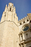 Bell tower of the Gerona Cathedral. The Cathedral of Santa María is located at the top of Gerona city and it has the widest Gothic nave in the world Royalty Free Stock Photos