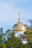 Bell tower. With a gilded dome and a cross of Orthodox Stock Photography