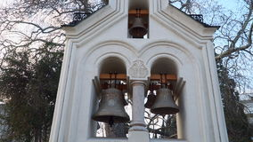 Bell tower Holy Cross Church in Livadia stock footage