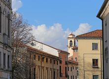 Bell tower and houses of san marco quartier in vicenza italy Royalty Free Stock Photo