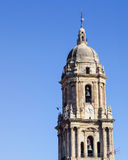 Bell Tower of Iconic Malaga Cathedral Stock Photography