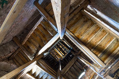 Bell tower interior from below up Royalty Free Stock Images