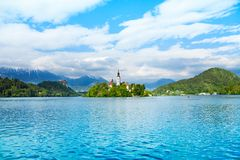Bell tower island in Bled Royalty Free Stock Image