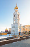 Bell tower of the Iversky monastery against the blue sky in Sama Royalty Free Stock Photos