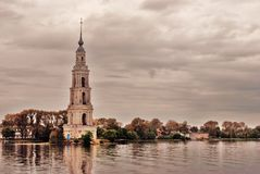 Bell tower in Kalyazin, Russia. Royalty Free Stock Images