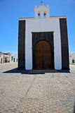 Bell tower    lanzarote  spain the old wall terrace church  in a Stock Photos