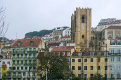 The bell tower of the Lisbon Cathedral, Portugal stock photography