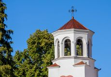 The bell tower of the main church in Klisurski Monastery. Klisurski Monastery is located in northwestern Bulgaria near the town of Berkovitsa. It was founded in Royalty Free Stock Photo