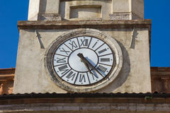 Bell tower of Massa Martana cathedral with clock Stock Image