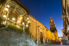 Bell Tower of the Mezquita Cathedral, Cordoba, Spain stock images