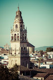 The bell tower at the Mezquita mosque & cathedral in Cordoba, Sp Royalty Free Stock Photo