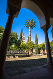 The bell tower at the Mezquita mosque & cathedral in Cordoba, Sp Royalty Free Stock Photos