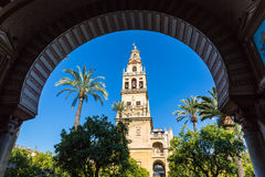 The bell tower at the Mezquita mosque & cathedral in Cordoba, Sp Stock Photos