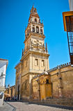 Bell tower of Mezquita (Mosque) and Cathedral , Cordoba,  Spain. Bell tower of Mezquita (Mosque) and catholic Cathedral , Cordoba, Andalusia, Spain Royalty Free Stock Photography