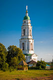 The bell tower of the Mgarskiy orthodox male monastery. Famous place near Lubny  Poltava region. Ukraine. The bell tower of the orthodox male monastery. Famous Stock Photography