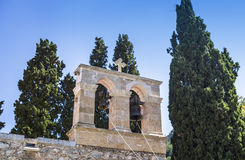 Bell tower of monastery Kera Kardiotissa Royalty Free Stock Photography