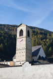 Bell Tower of Monastery St. John in Mustair Stock Photo