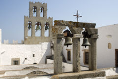 Bell tower of the Monastery St John the Theologian stock image