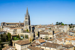 The bell tower of the monolithic church in Saint Emilion, Bordea Stock Photo