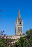 The bell tower of the monolithic church in Saint Emilion Royalty Free Stock Images