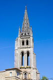 The bell tower of the monolithic church in Saint Emilion, near B Royalty Free Stock Images