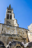 The bell tower of the monolithic church in Saint Emilion, near B Stock Image