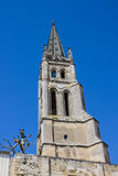 The bell tower of the monolithic church in Saint Emilion, near B Stock Photography