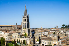 The bell tower of the monolithic church in Saint Emilion, near B Royalty Free Stock Photo