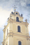 Bell tower in the morning light in Vilnius on background blue sk Royalty Free Stock Photography