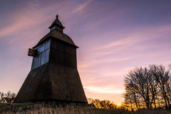 Bell tower. Near the Litslena church at sunrise in Enköping, Sweden stock images
