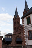 Bell tower next to apartment. Seligestadt Rhein Main Royalty Free Stock Photos