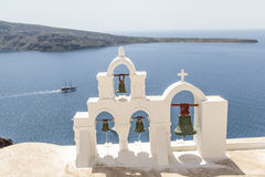 Bell tower in Oia, Santorini (Thera) - The Cyclades in Greece Stock Photo