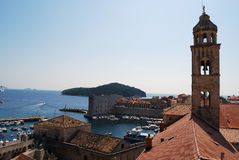 Bell tower. Old town of Dubrovnik, Croatia. Balkans, Adriatic sea, Europe. Royalty Free Stock Images
