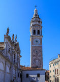 Bell tower on one of the Venice area. Vertical frame Stock Photography