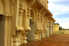 Bell tower ornamental wall at the thanjavur maratha palace. The Thanjavur Maratha Palace Complex, known locally as Aranmanai, is the official residence of the stock photos