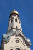 Bell tower of orthodox church. Riga, Latvia. Royalty Free Stock Photo