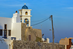 Bell tower of orthodox church in town of Firostefani, Santorini island, Thira, Greece. Bell tower of orthodox church in town of Firostefani, Santorini island Royalty Free Stock Photos