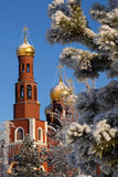 Bell tower. The bell tower of the Orthodox church. In the winter forest Royalty Free Stock Photo