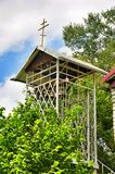 The bell tower in Orthodox parish of Saint Nicholas Church in the village of Saratovskaya Royalty Free Stock Photos