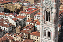 Bell tower and Piazza della Repubblica in Florence Royalty Free Stock Images