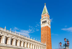 Bell tower on Piazza San Marko, Venice Royalty Free Stock Images