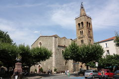 Bell tower in Prades, France Stock Photos