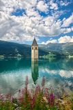 Bell tower of the Reschensee Resia South Tyrol Italy Royalty Free Stock Images