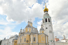 Bell tower and Resurrection Cathedral. Bell tower of Sophia Cathedral and Resurrection Cathedral in Vologda, Russia royalty free stock photos