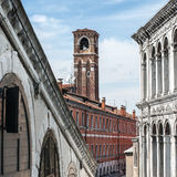 Bell tower of the roman catholic church of San Giovanni Elemosin Royalty Free Stock Image
