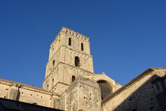 Bell tower of Romanesque Cathedrale Saint- Royalty Free Stock Photography